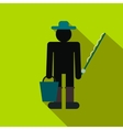 Fisherman with bucket and fishing rod flat icon vector image vector image