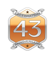 Forty three years anniversary celebration silver vector image vector image