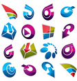 Geometric abstract 3d shapes Collection of arrows vector image vector image