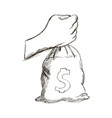 hand holding money bag business concept vector image vector image