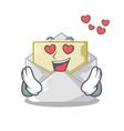 in love open envelope on cartoon shape blank vector image