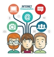 internet connection group persons graphic vector image