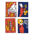 jazz music festival poster set vector image
