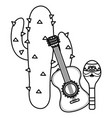 mexican cactu plant with guitar vector image
