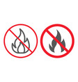 no fire line and glyph icon prohibition vector image vector image
