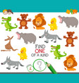 one a kind game with funny cartoon animals vector image vector image