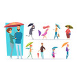 people with umbrella raining day walking adults vector image vector image