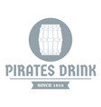 pirate barrel logo simple gray style vector image vector image