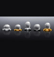 realistic glass domes on silver and golden base vector image