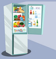 refrigerator full of tasty food vector image vector image