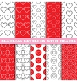 Seamless patterns with hearts vector image vector image