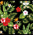 seamless realistic botanical pattern black vector image