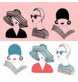 set fashion girls in stylish looks vector image vector image