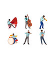 set jazz band musicians playing instruments vector image vector image