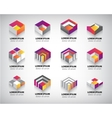 set of colorful geometric 3d cube vector image vector image