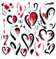 set of hand drawn heart and arrows symbol of love vector image
