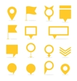 Set of yellow isolated pointers and markers vector image vector image