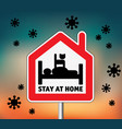 sign icon stay home men in bed with cat and sky vector image