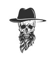 skull with hat beard and mustache vector image vector image