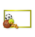 soccer tennis basketball balls dumbbells frame vector image