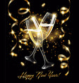 sparkling glasses champagne with gold vector image vector image