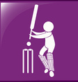 Sport icon design for cricket on purple background vector image vector image