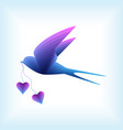 swallow flying with hearts vector image vector image