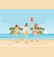 three bikini woman jumping with ball on beautiful vector image vector image