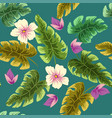 tropical plants leaves and flowers seamless beach vector image