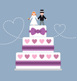 Wedding cake purple ribbon vector image