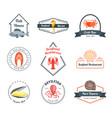 seafood badges or labels set vector image