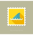 Shark fin flat stamp with long shadow vector image