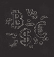 set of bitcoin the dollar against the euro on a vector image
