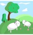 Background tree hill goat nature landscape vector image