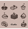 Set of sweet cake with fruit vector image