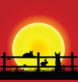animal on sunset with grass and fence vector image vector image