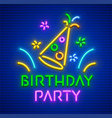 birthday party neon hast vector image