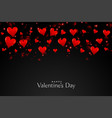 black background with floating red hearts vector image