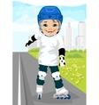 boy skating on rollerblades on sidewalk along road vector image