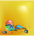 bright shells on sand vector image vector image