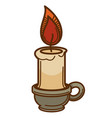 candle in candlestick with wax and flame icon vector image