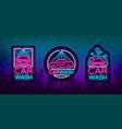 car wash logo set design in neon style vector image