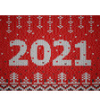 card new year 2021 with knitted texture vector image vector image