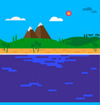 cartoon island in the sea with mountains and hills vector image