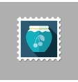Cherry jam jar flat stamp with long shadow vector image vector image