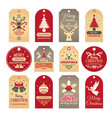 christmas labels holiday tags and badges with vector image vector image