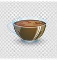 classic black coffee in a transparent cup vector image vector image