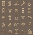 Coffee shop line color icons on brown background vector image