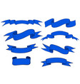 collection blue ribbon banners and scrolls vector image vector image