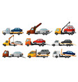 collection of tow trucks flat faulty car loaded vector image vector image